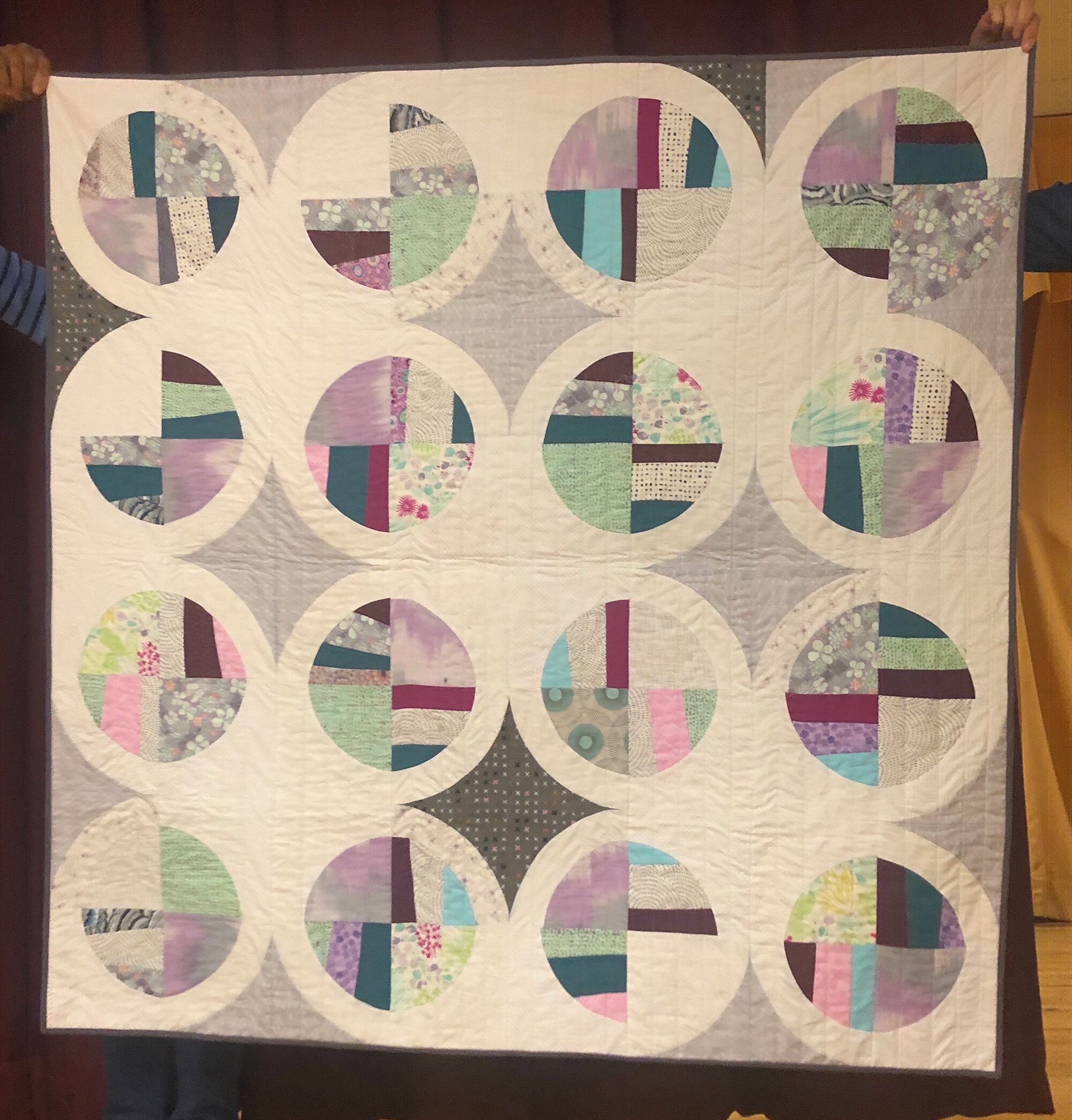 Margaret Marcy Emerson, modern fans quilt. Pattern by Suzy Quilts.
