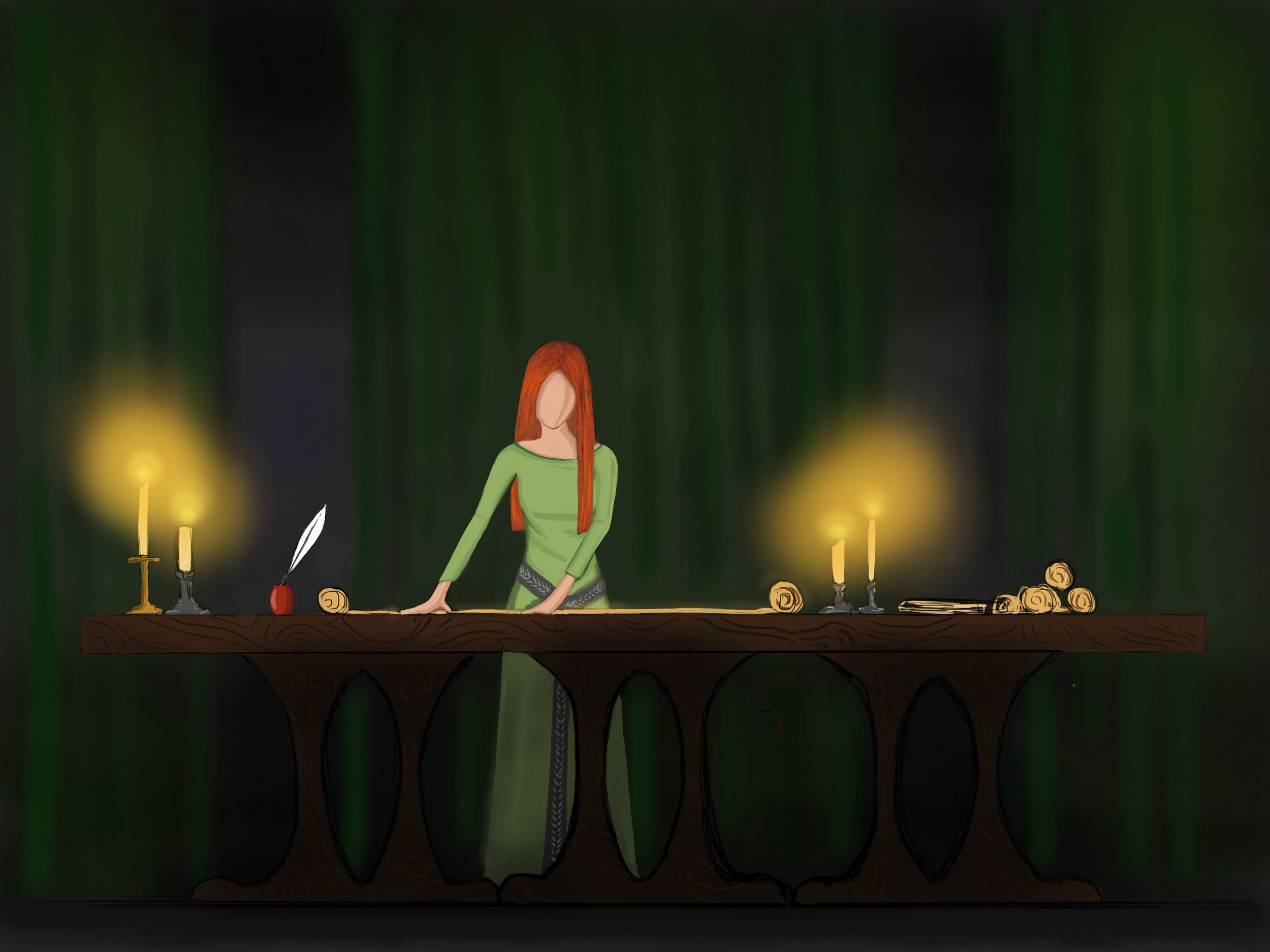 THE SCHOLAR - Eleanor studies the scrolls
