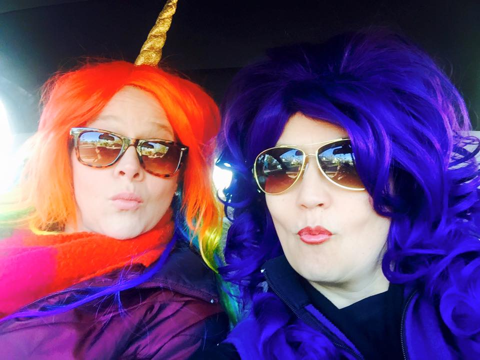 Kathryn with her sister at Mardi Gras.