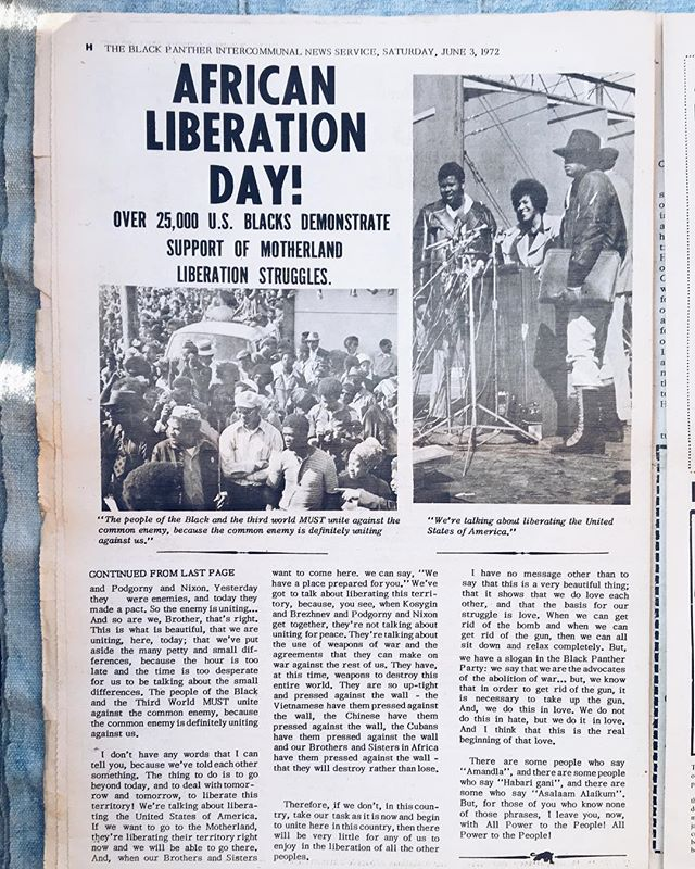 African Liberation Day Black Panther Party Newspaper, 1972  We have close to 100 of these in our collection and have purchased just about all of them from an ex-Panther/elder in our network of collectors. The Black Panther Intercommunal Newspaper began as a four-page newsletter in Oakland, California in 1967, founded by Huey P. Newton and Bobby Seale. It was the official publication of the Black Panther Party and was sold in several large cities across the United States, and had international readership as well. The newspaper distributed information about the party's activities, and expressed the ideology of the party - focusing on both international revolutions as inspiration and the current racial struggles of Black folks in the United States. [Pictured: Volume VIII. No. 2 - June 3, 1972]  The African Liberation Support Committee (ALSC), a black activist organization that supported Pan Africanism, was organized at a conference in September 1972 in Detroit, Michigan. ALSC grew out of the first African Liberation Day (ALD) on May 27, 1972 that drew some 60,000 demonstrators in cities across the U.S. and Canada. @blkmktvintage