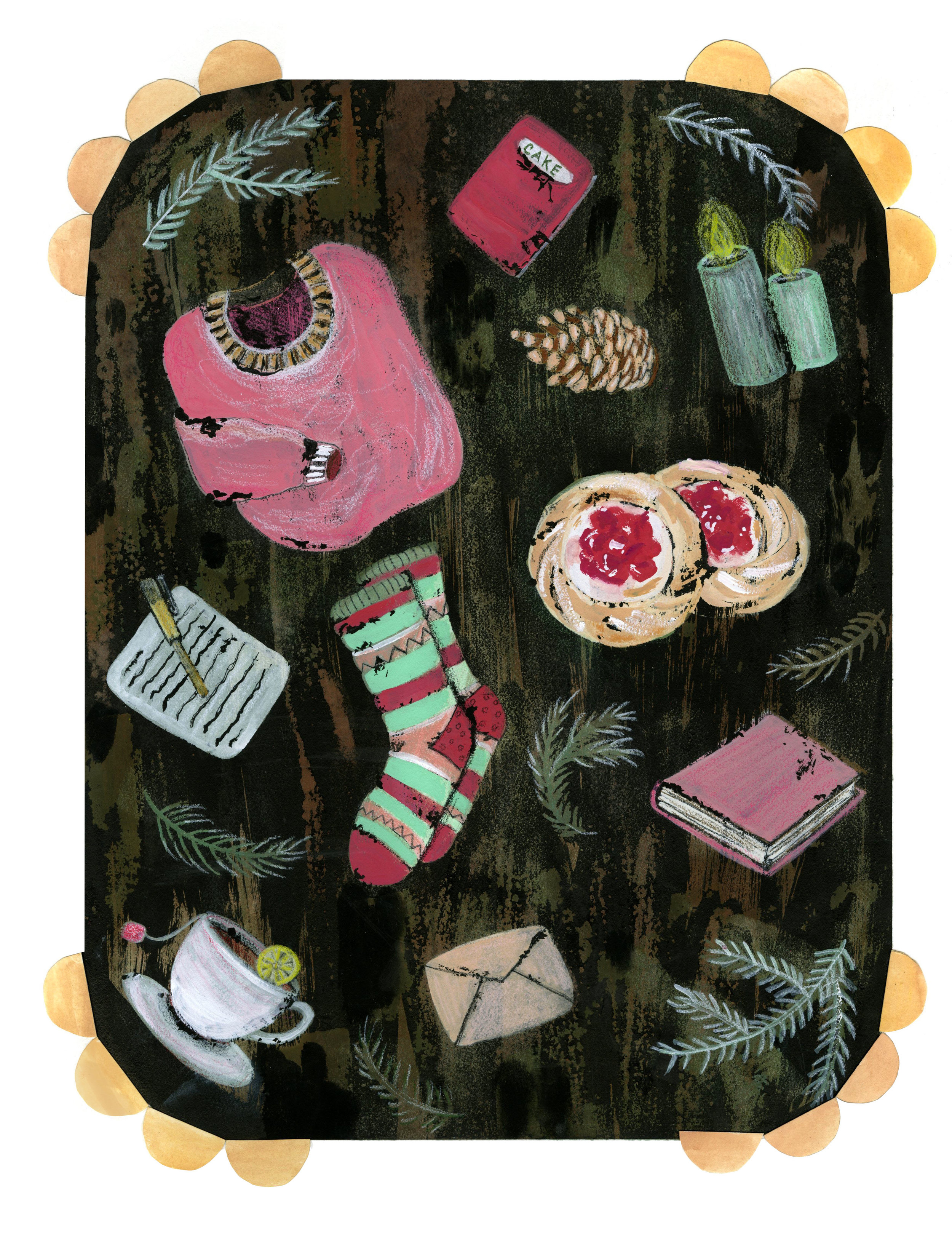"""Illustrating the Danish word """"hygge"""", which we do not have a translation for in English. Gouache, ink, and colored pencil"""