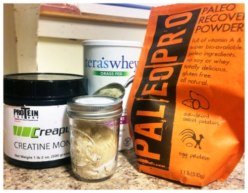 11A - Pre-Workout Shake: Whey + 5g Creatine + 1/2 scoop dried sweet potatoes