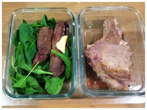 4:30P - Greens + Sweet Potato + Butter + Pork Chop