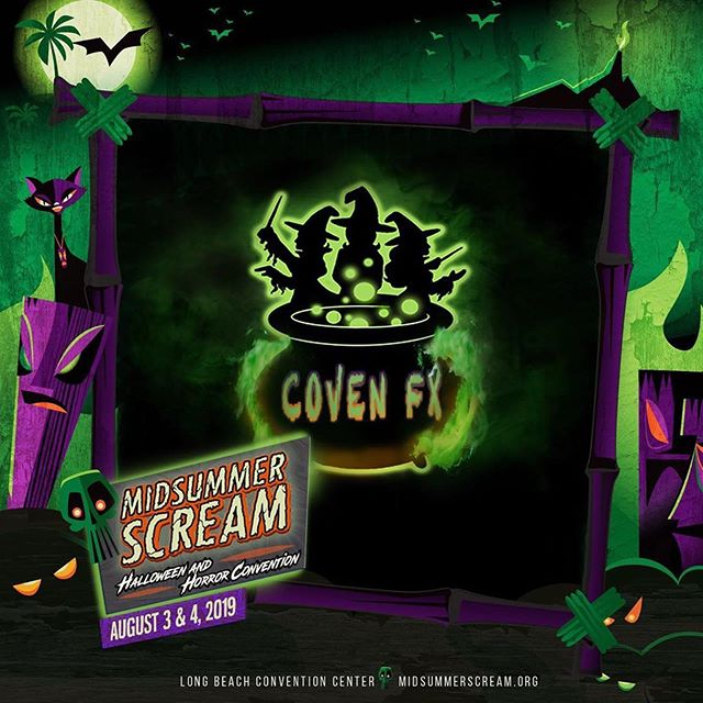 What are you doing this weekend? Come visit @coven_fx at @midsummerscream !!! Filled with ghouls, scare zones, makeup demos and merch!  I'll be doing a makeup demo on Saturday with @dayebraham_lincoln . Come visit the summer spooks! . . #covenfx #spook #summer #mua #makeupdemo #makeupartist #creep #midsummerscream #witches #fxmakeup
