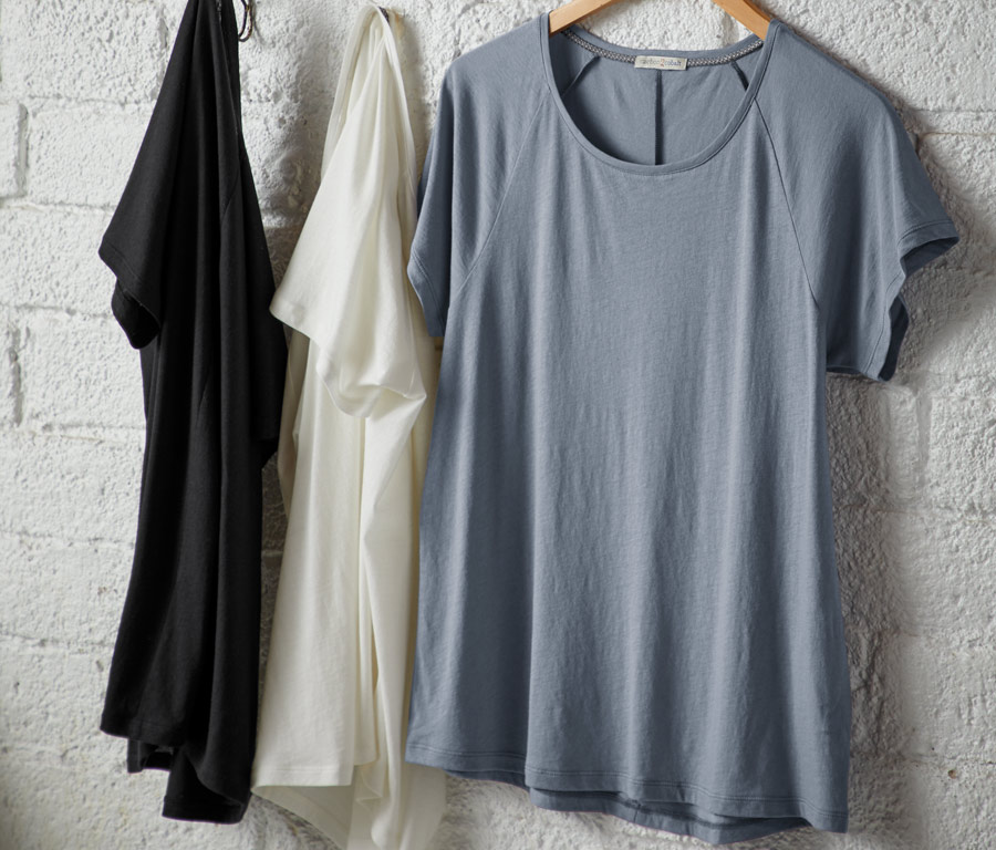 Prima Tee  The often under-appreciated tee. Around here, we hold tees in high regard — easily wearable on their own in their super-soft luxuriousness or as the perfect layer as the temperatures finally cool later in the Fall season.