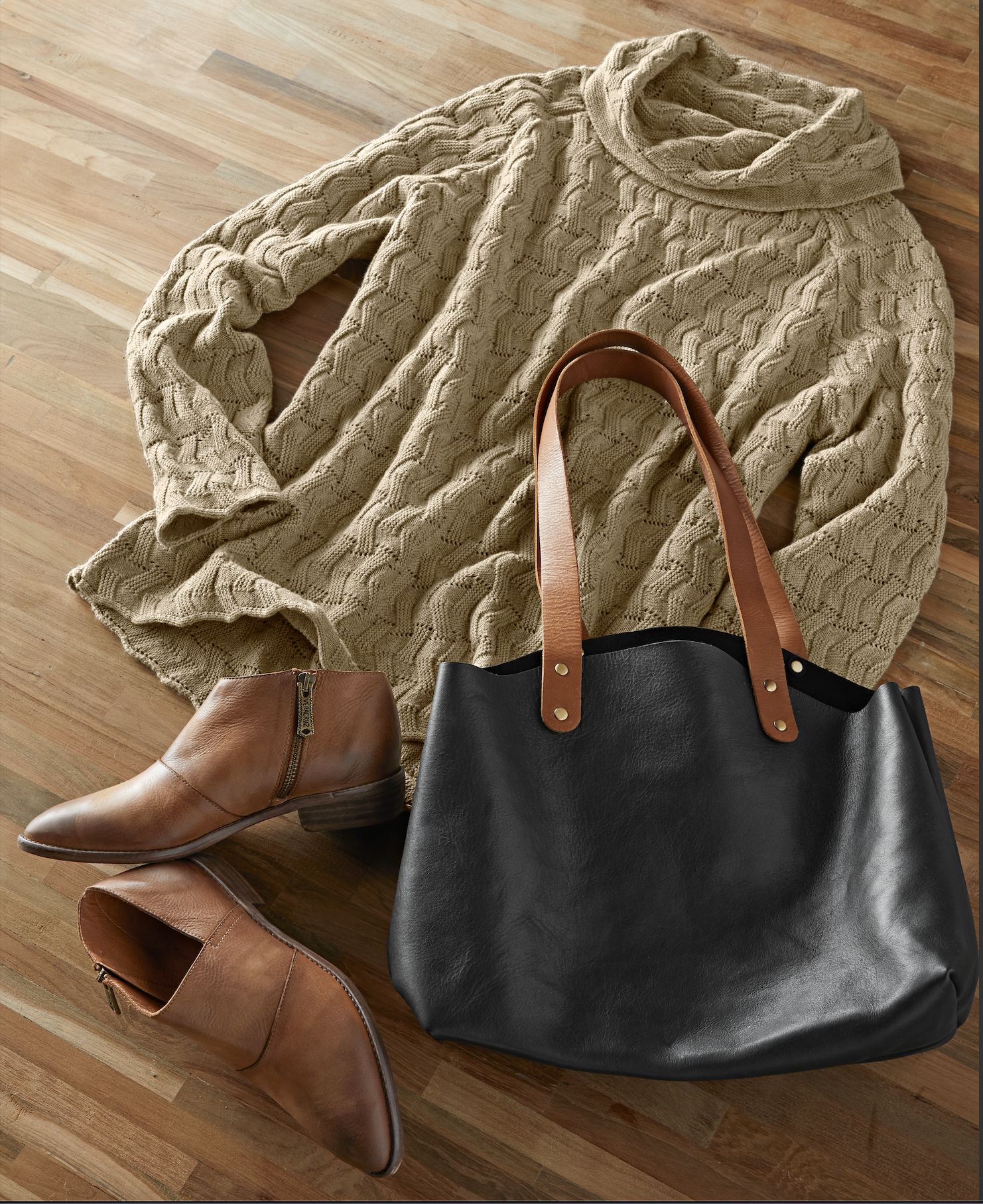 Live with graceful ease: We're in love with our new  Lakeland Sweater , with the modern, yet striking  Market Tote  and cute  Low-Key Bootie .