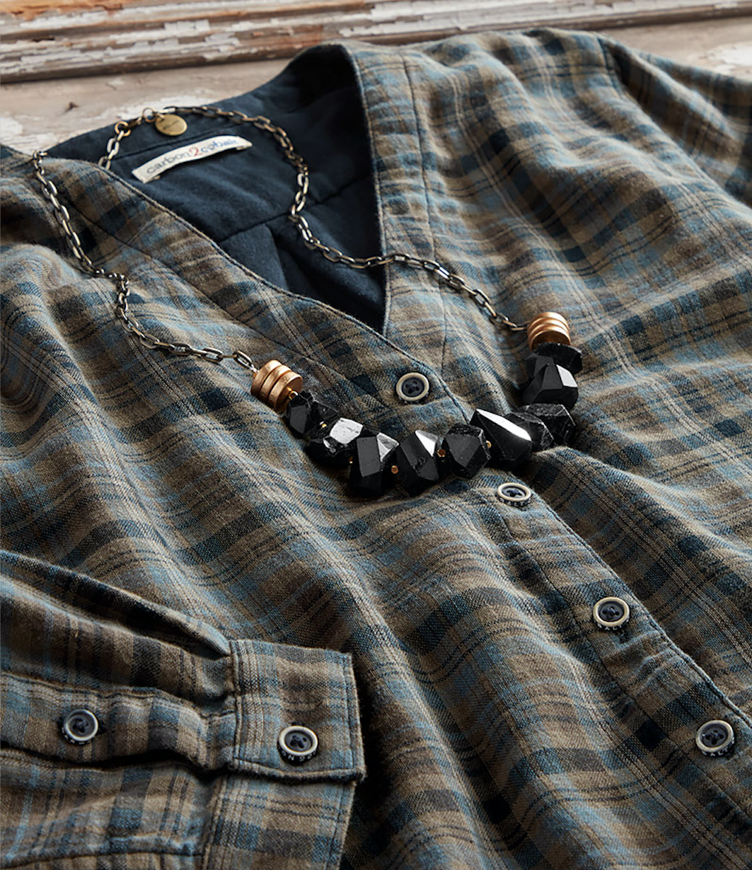 Our new  Madeira Plaid , shown with  Astral Necklace