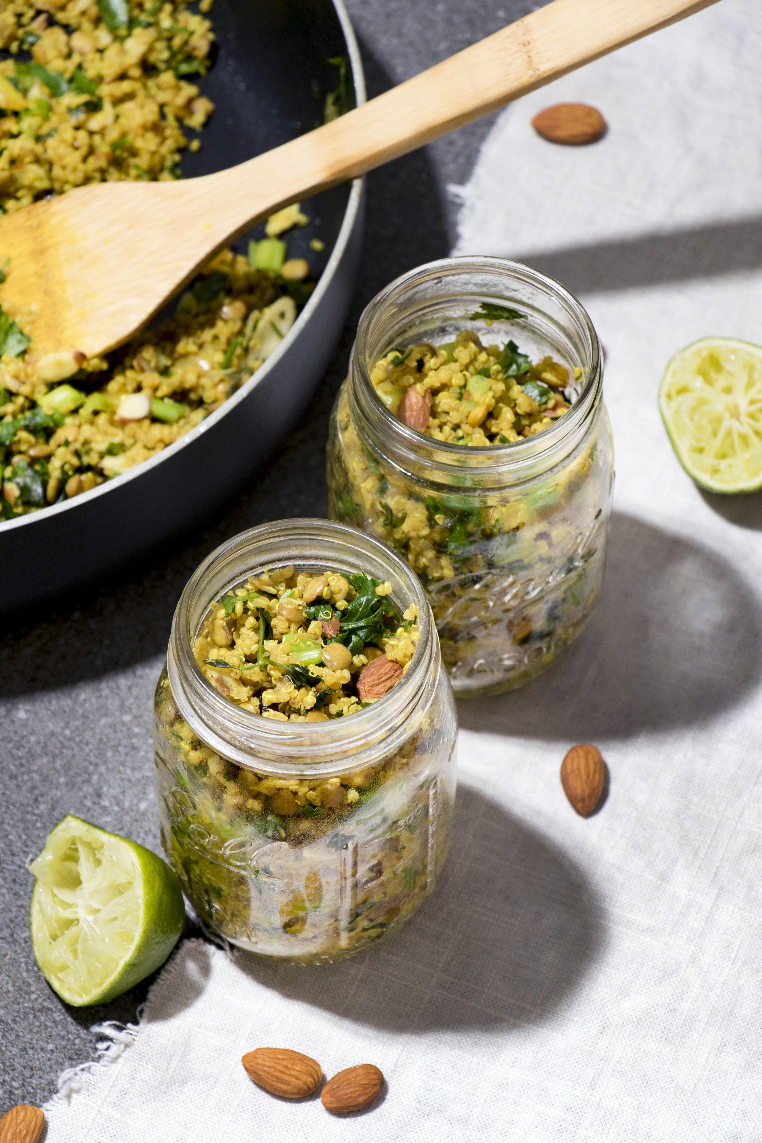 Cincinnati Food Photographer | Allison McAdams | Quinoa & Lential Salad | Almonds