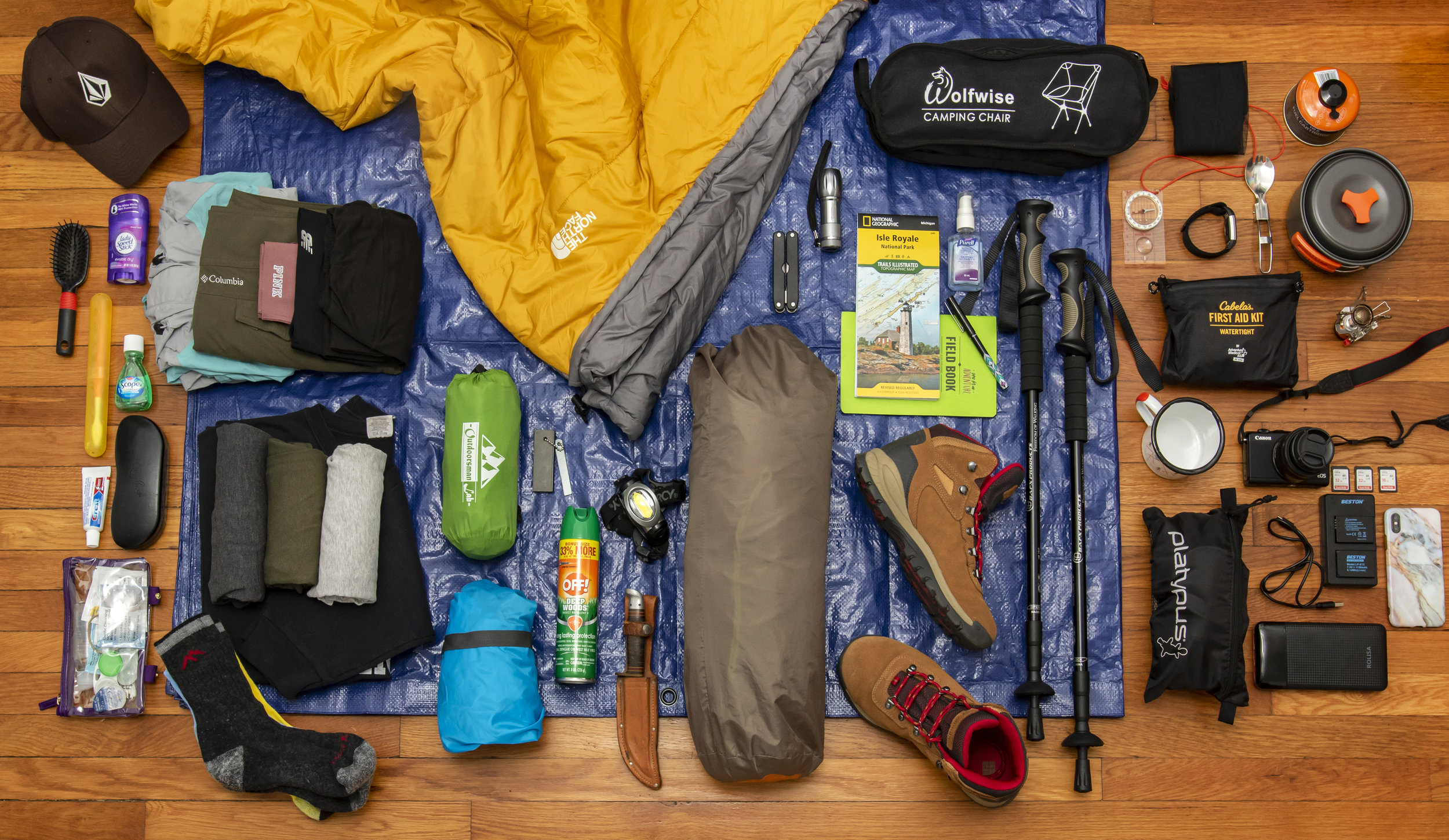 Backpacking Gear Layout