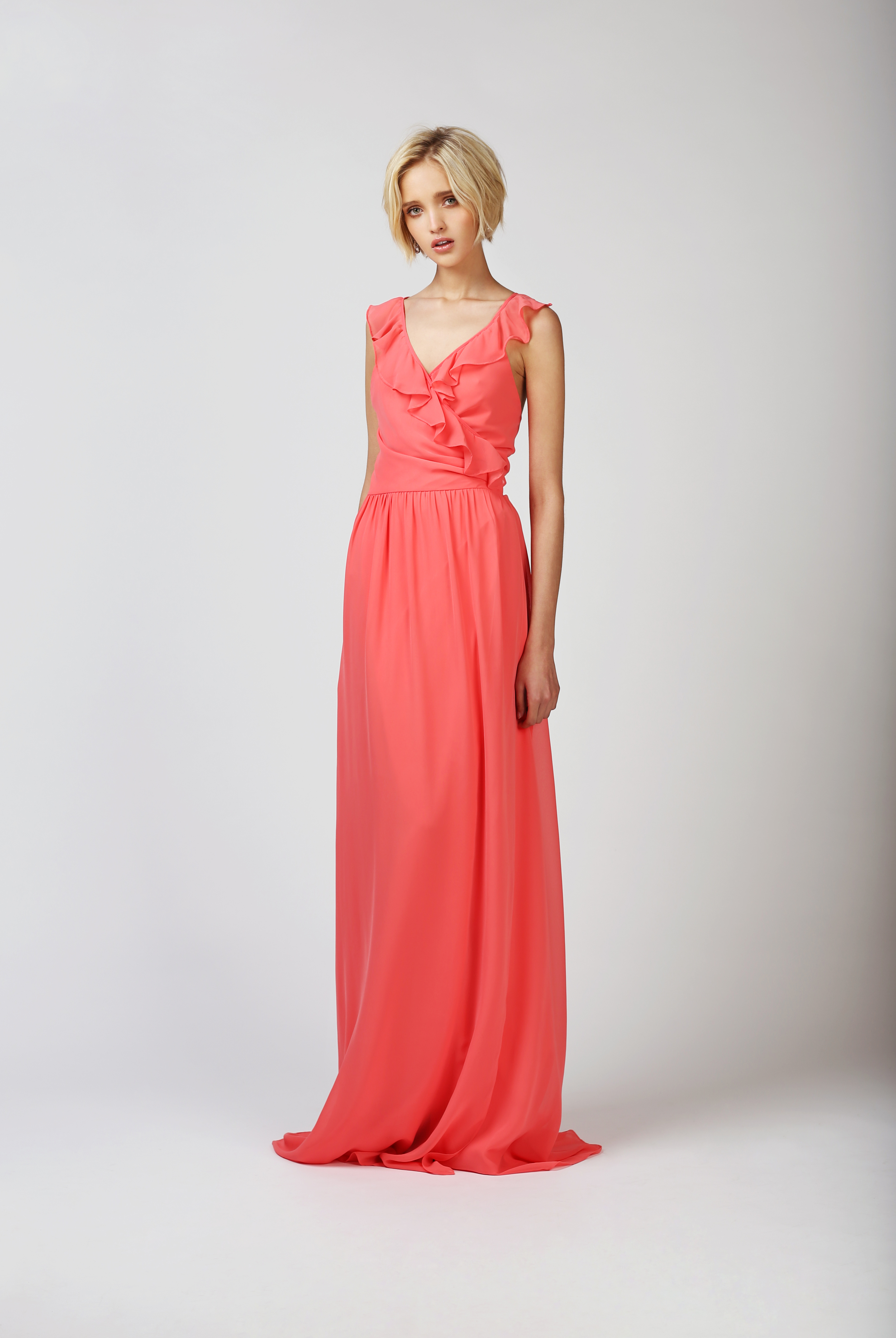TWO BIRDS BALL GOWN, CORAL