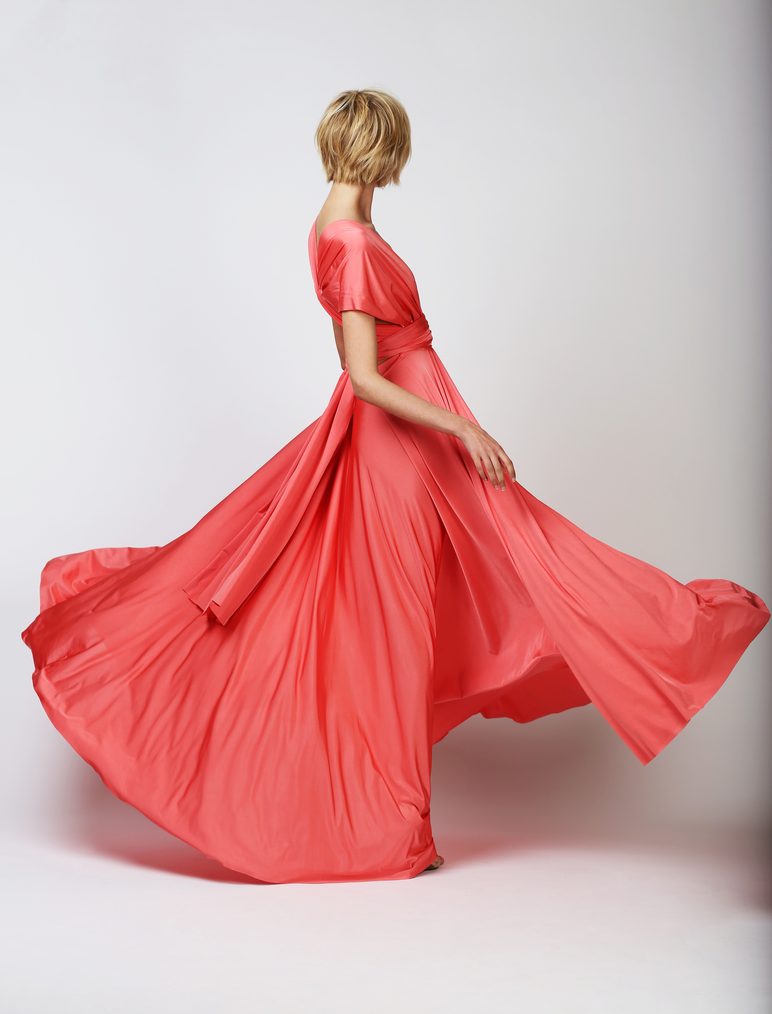 TWO BIRDS BALL GOWN - CORAL