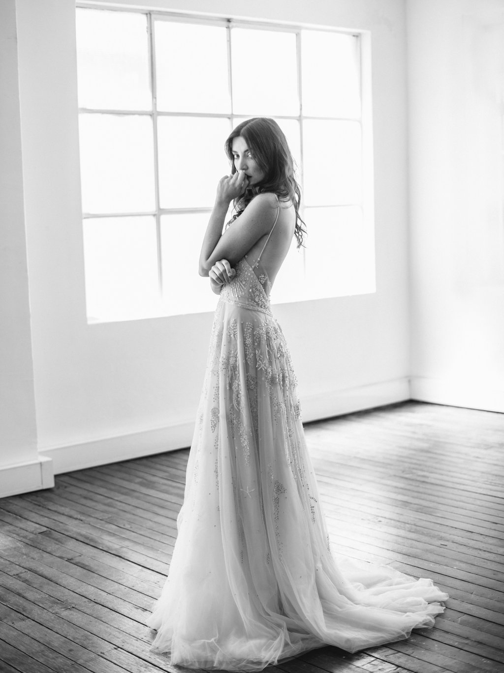 Embellished wedding dress featured in the first editorial by LOVE FIND CO.