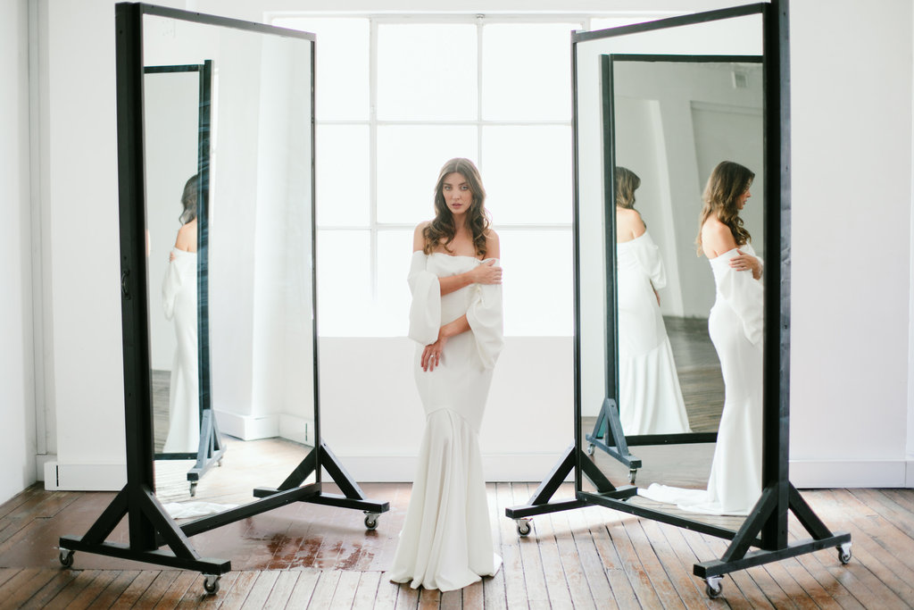 Off the shoulder wedding dress featured on LOVE FIND CO.