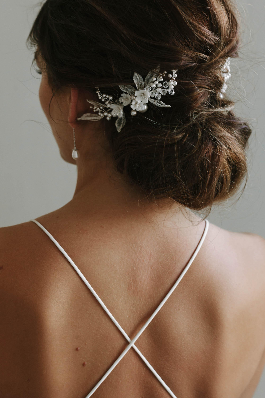 Alessia Silver Floral Comb