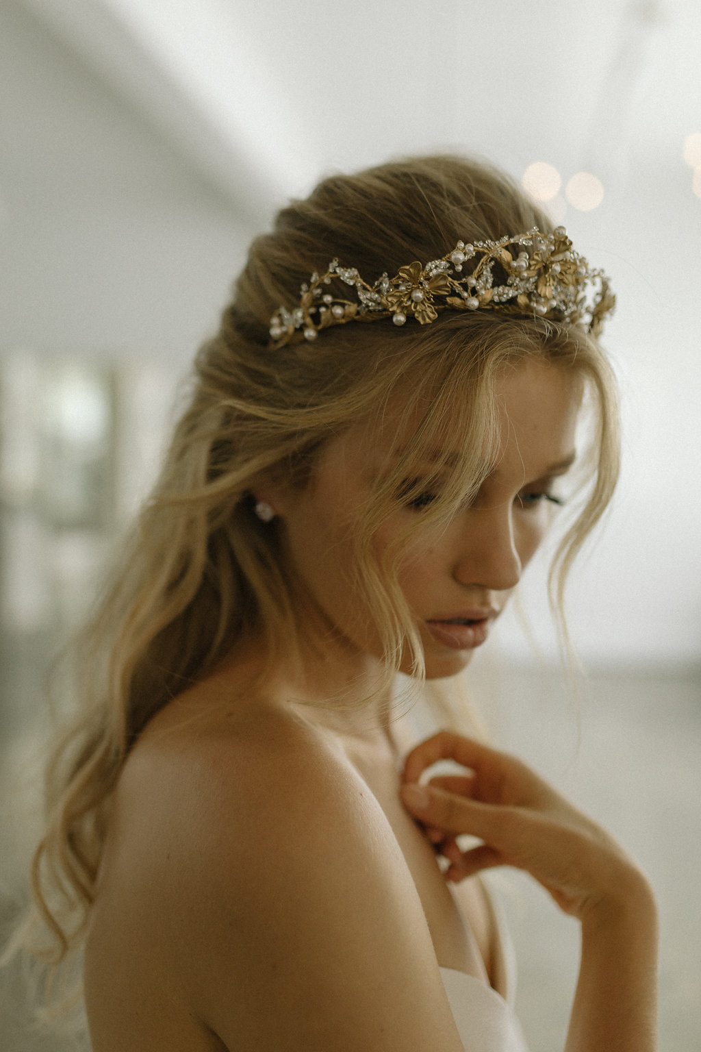 Reina Gold Pearl Wedding Crown by Tania Maras Bridal