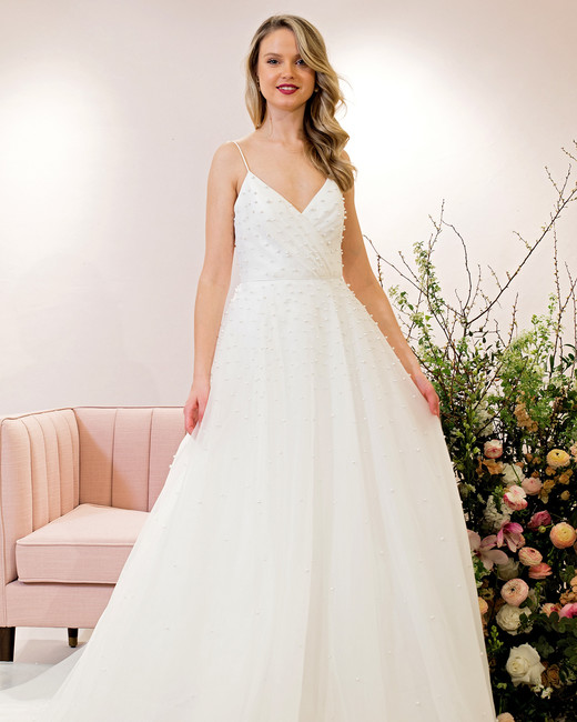 Bridal Dresses with pearl details from the Spring 2019 Bridal Collection