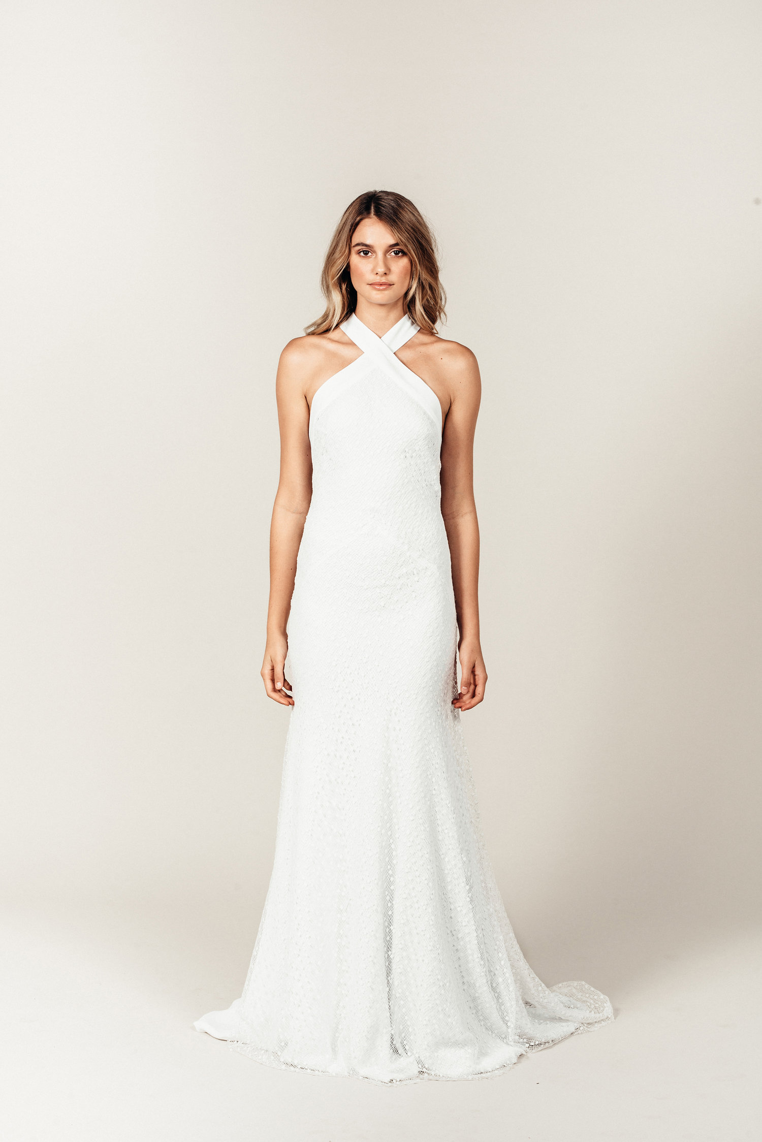 The Chloe Halter Neck Wedding Dress by Prea James Bridal featured on LOVE FIND CO.