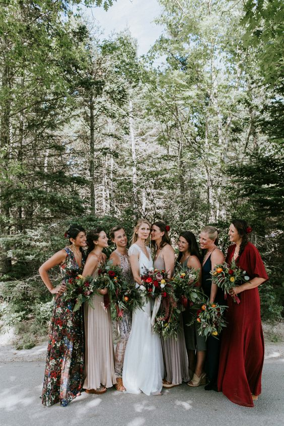 Jewel Toned Mix & Match bridesmaid dresses featured on LOVE FIND CO.