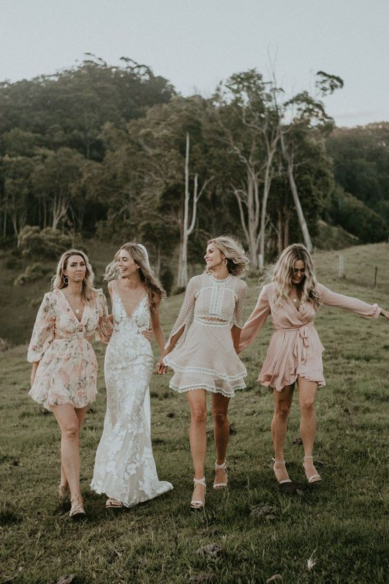 Short Mix Matched bridesmaid dresses featured on LOVE FIND CO.