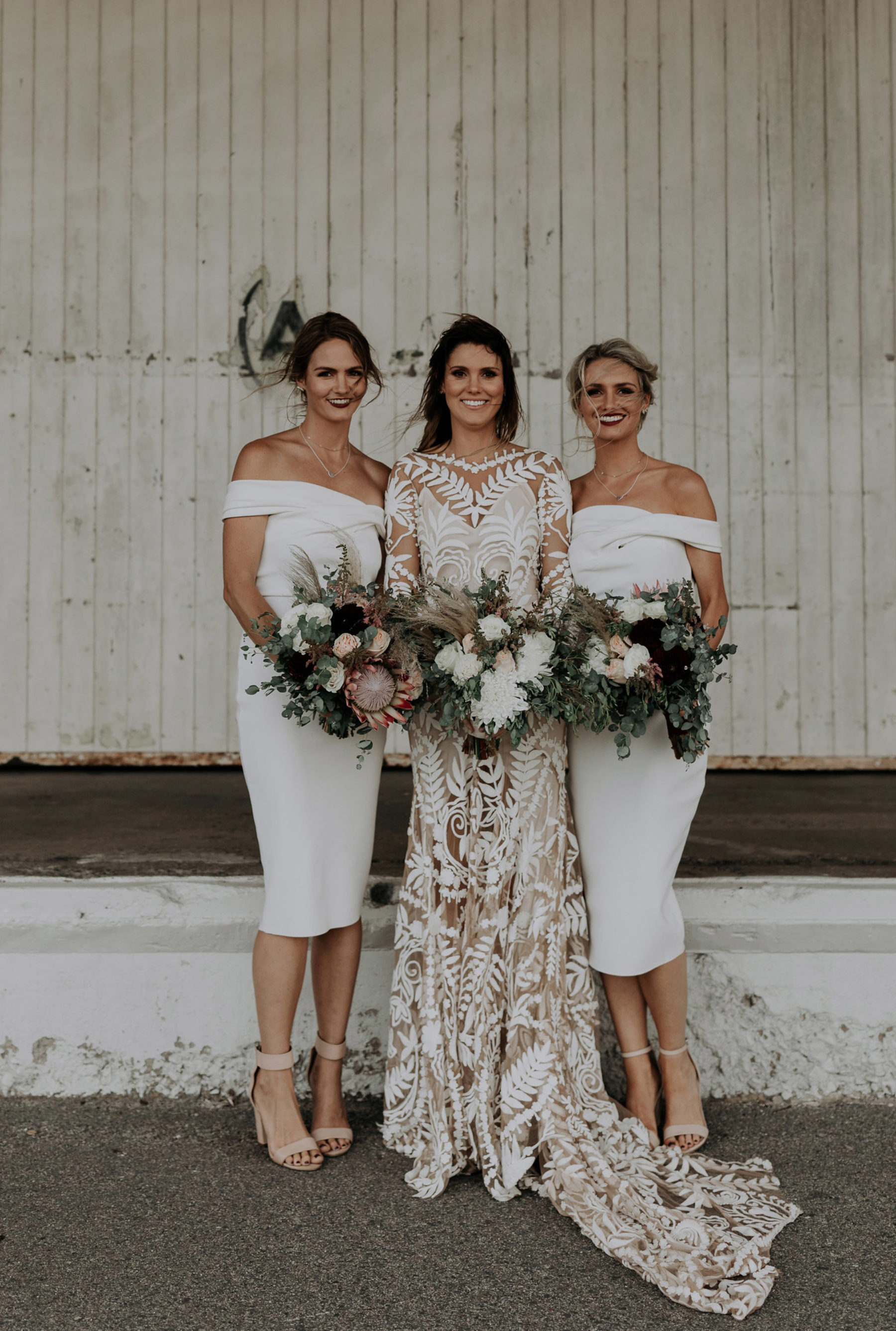 White bridesmaid dresses by Coco and Lola featured on LOVE FIND CO.