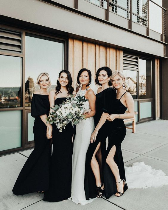 Black bridesmaid dresses featured on LOVE FIND CO.