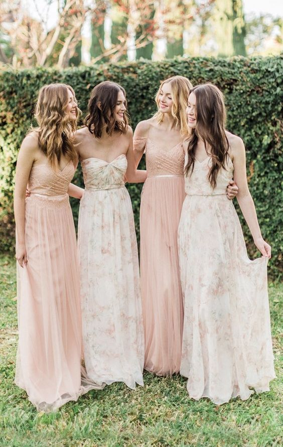 Printed bridesmaid dresses featured on LOVE FIND CO.