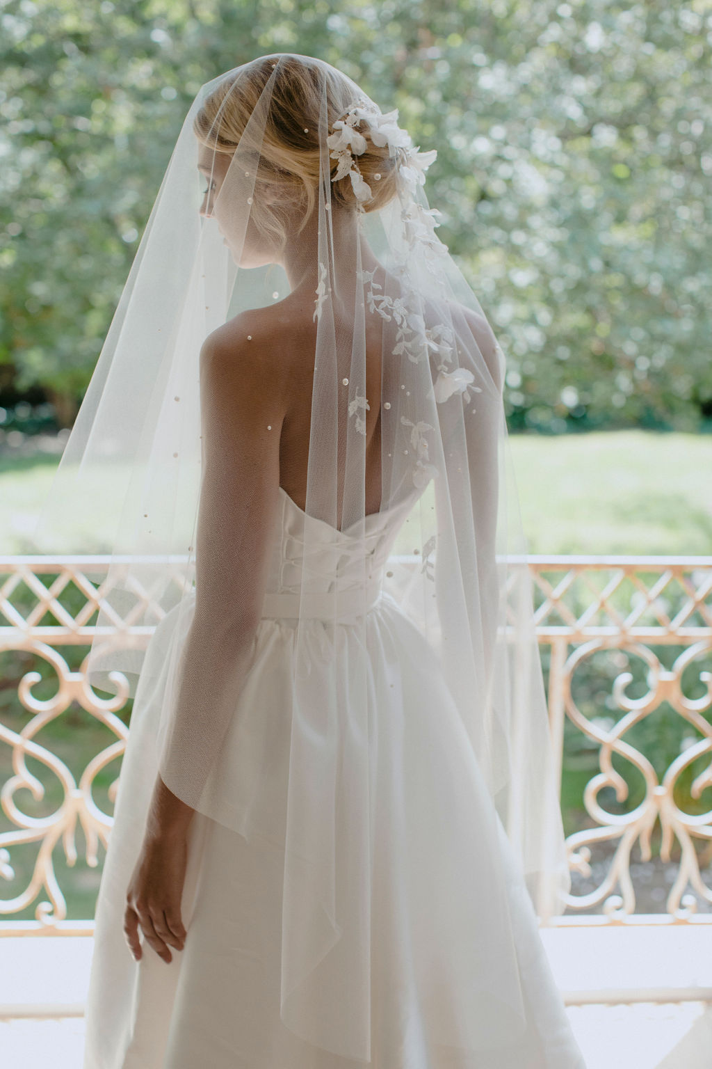 WEEPING CHERRY EMBELLISHED SHORT WEDDING VEIL by TANIA MARAS featured on LOVE FIND CO.