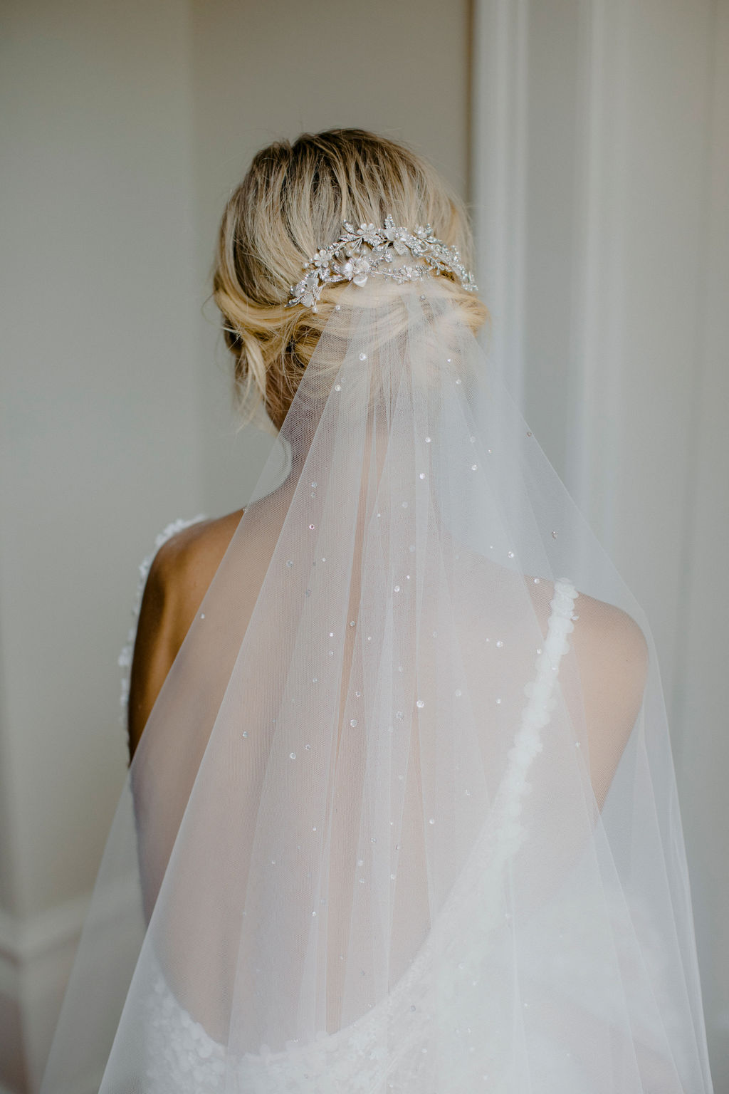 EVENING CRYSTAL WEDDING HEADPIECE and MORNING MIST VEIL by TANIA MARAS, featured on LOVE FIND CO.