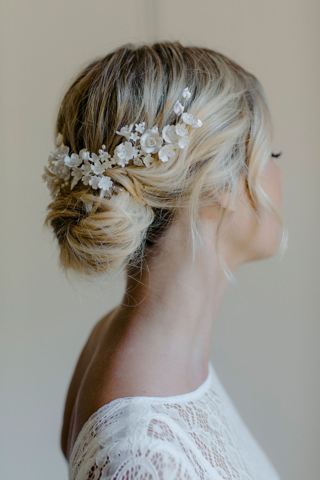 GARDENIA WEDDING HEADPIECE WITH FLOWERS by TANIA MARAS featured on LOVE FIND CO.