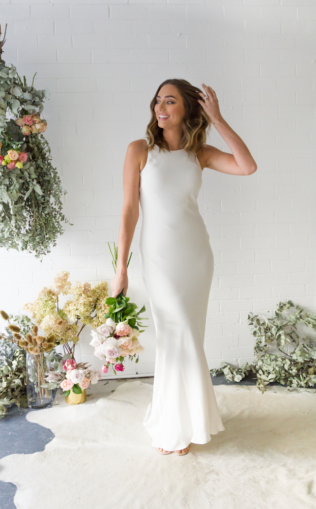High Neck Slip Bridal Gown from the TRUE Collection by Fiona Claire featured on LOVE FIND CO.