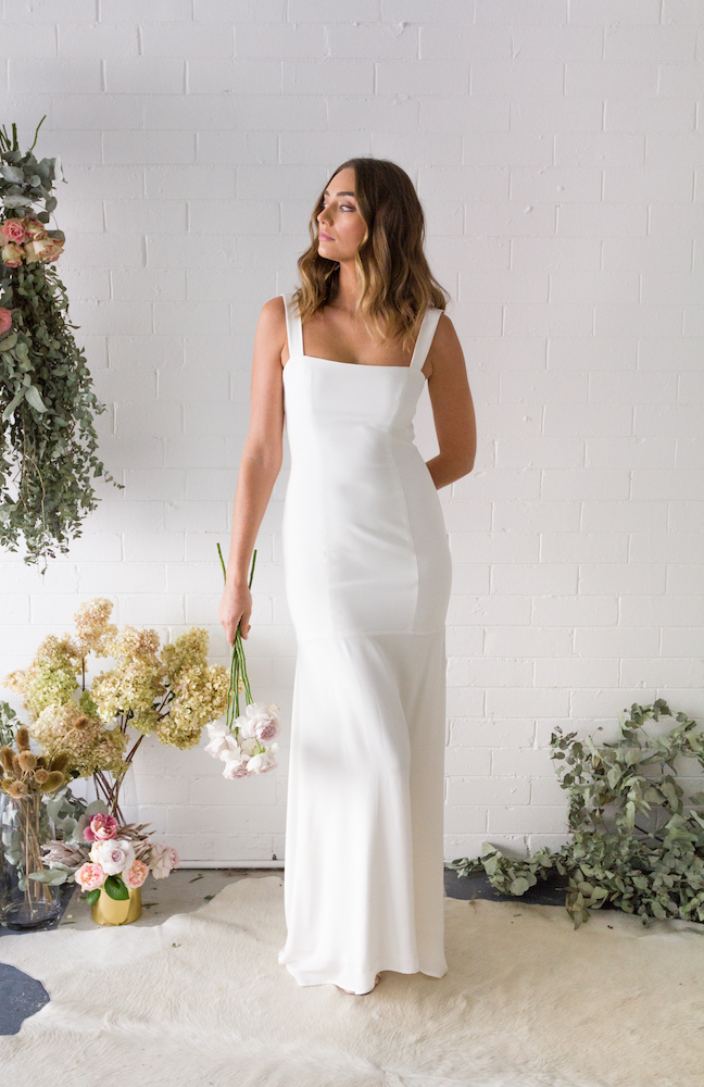 Panelled gown with wide straps from the TRUE Collection by Fiona Claire featured on LOVE FIND CO.