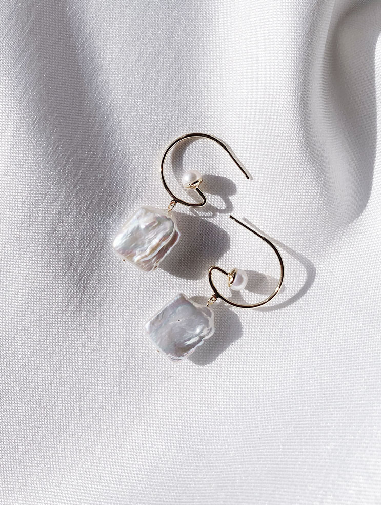 PISCES PEARL HOOP DROPS by ONE DAY BRIDAL featured on LOVE FIND CO.
