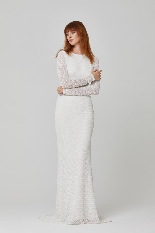 Australian Bridal Brand Ivie White - Presley long sleeve beaded gown featured on LOVE FIND CO.