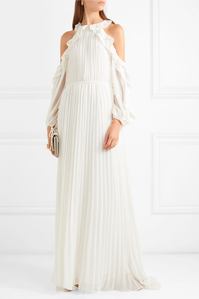 SELF PORTRAIT Cold shoulder ruffled pleated chiffon gown | 12 Bridal Gowns You Can Buy For Under $1,000 | LOVE FIND CO. Bridal Dress Directory