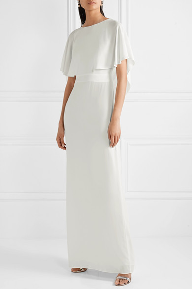 HALSTON HERITAGE Cape-effect crepe de chine gown | 12 Bridal Gowns You Can Buy For Under $1,000 | LOVE FIND CO. Bridal Dress Directory