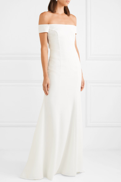 RIME ARODAKY Louvre Off The Shoulder Crepe Gown | Bridal Dresses under $2,000 | LOVE FIND CO. Bridal Dress Directory