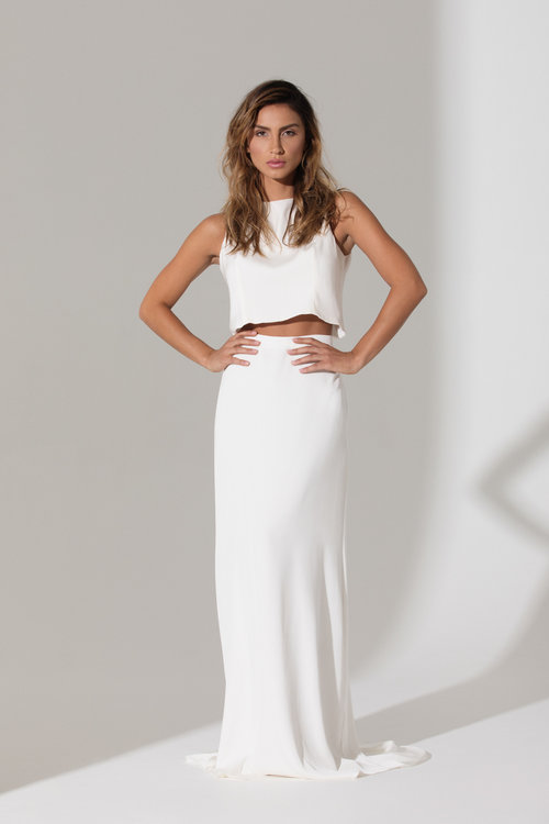 IVIE WHITE Odete Top & Francesca Skirt | Wedding Dresses under $3,000 | LOVE FIND CO. Bridal Directory