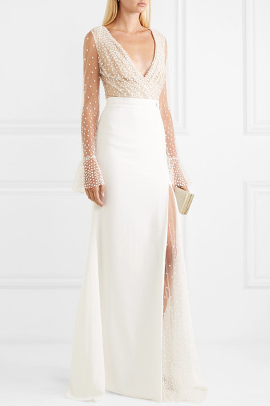 Rime Arodaky Joni Swiss-dot tulle and crepe gown | Wedding dresses under $7,500 | LOVE FIND CO. Bridal Directory
