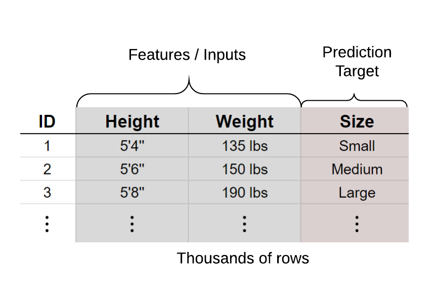 """Figure 3: Example training dataset for ML. In the example of an app to recommend which clothing size to buy, an ML approach would utilize a large dataset with features or inputs (height and weight) with the known prediction targets (the size) to determine the best recommendations. Instead of humans creating rules for the decision tree, the ML models infers the best set of rules to make recommendations based on a large dataset (i.e., the ML models figures out the best rules). The more the data, the better the prediction model. An application for medical insights is to use ML to categorize the type of insight (such as competitive product, safety, etc). For this to happen, a large dataset of """"labeled"""" or """"pre-categorized"""" insights is required for the ML model to learn."""