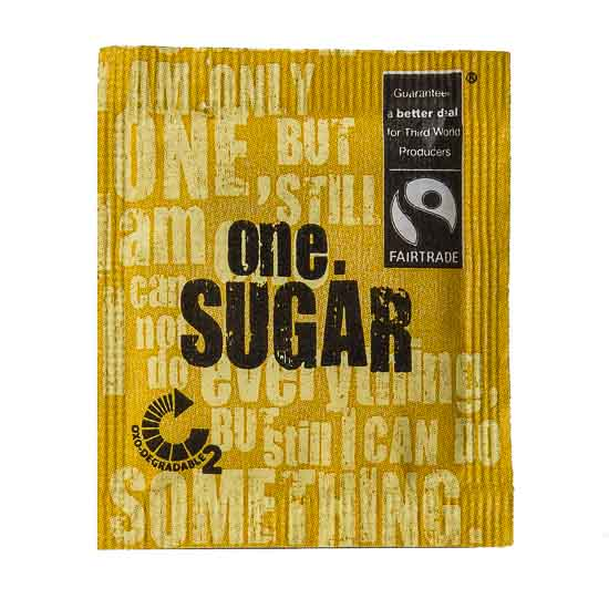 Certified Fairtrade sugar packaged in a degradable packaging material, an outstanding combo, you won't get one sweeter! The packaging for this product is made with a degradable film that enables it to breakdown under certain landfill conditions faster than standard packaging films.