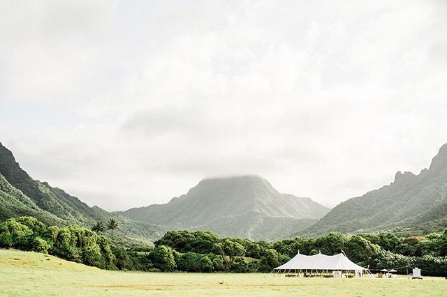 Wedding Planning | With a backdrop like this, do we even need to do anything else?? We always design with our locations in mind and in Hawaii that means competing with a lot of epic views! We always make sure that your wedding decor and set up showcases the surroundings and highlights just why you came here in the first place. | Tent @hawaiitents @accelrentals | Venue @kualoaranch @kualoaranchweddings | Photo @stewartandconnie |