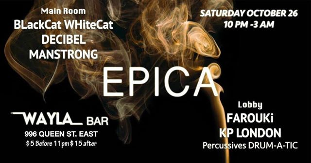 Yes yes y'all! EPICA is back October 26th 🥳 2 rooms 1 vibe let's get it ! 👏  #electronicmusic #music #techno #dj #housemusic #deephouse #party #techhouse #house #producer #dance #technomusic #djlife #dancemusic #rave #musicproducer #festival #electronica #djs #love #electro #newmusic #synth #nightlife #electr #toronto #torontonightlife — at Wayla Bar