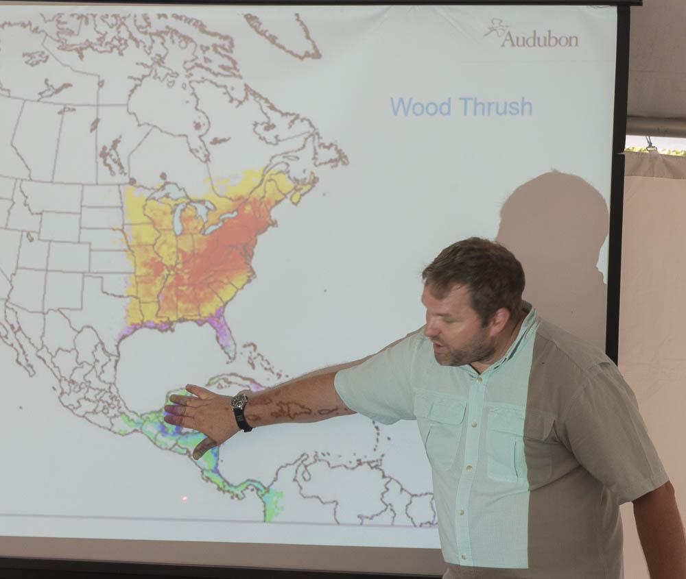Matt Jeffery Discussing Wood Thrush Habitat - Photo by Sam Schaen