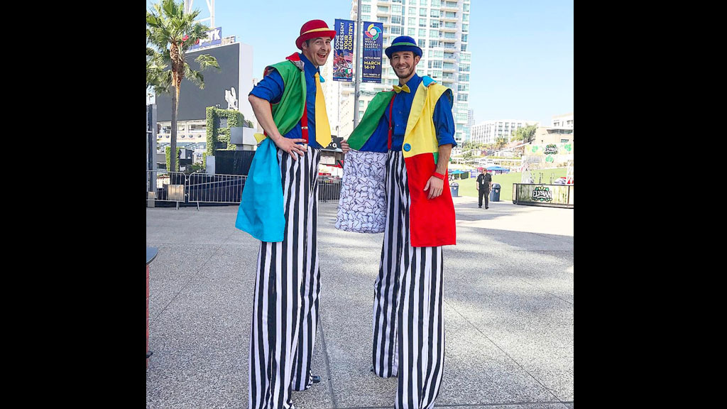 Stilt Walkers - Enjoy two stilt walkers during your time at the carnival.Stilts for walking are poles equipped with platforms for the feet to stand on and can be used with straps to attach them to the user's legs.