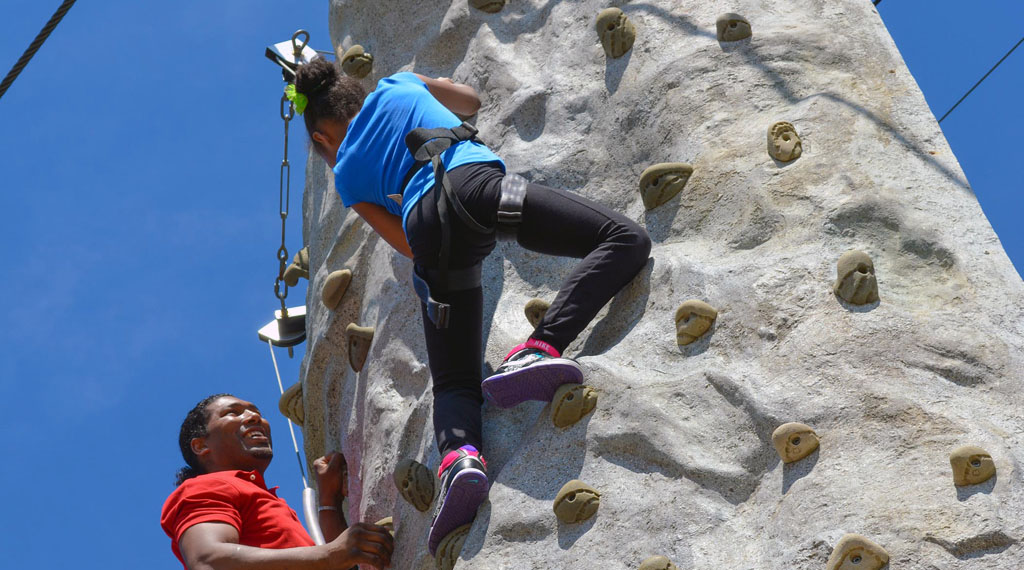 Rock Climb - Rock climbing is an activity in which participants climb up, down or across artificial rock walls. We will have two rock climbing available, with one dedicated to sisters.