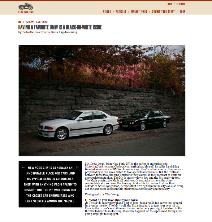 "As featured by  Petrolicious  in ""Having A BMW is a Black and White Issue"" the rangefinder gallery shot on location in downtown Jersey City for Mr Drew Leigh on his exclusive black and white BMW M car collection. Check out the rangefinder gallery on Petrolicious via this  link  <<<-- Click"