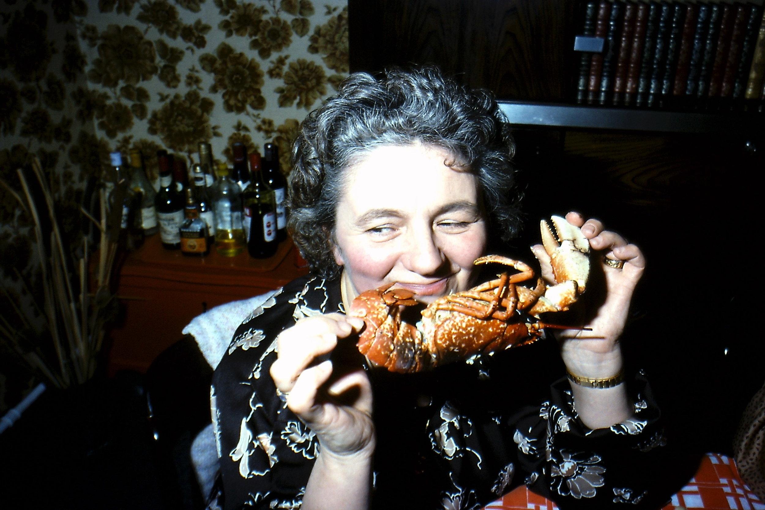 Grandma Savoring a Lobster   1979