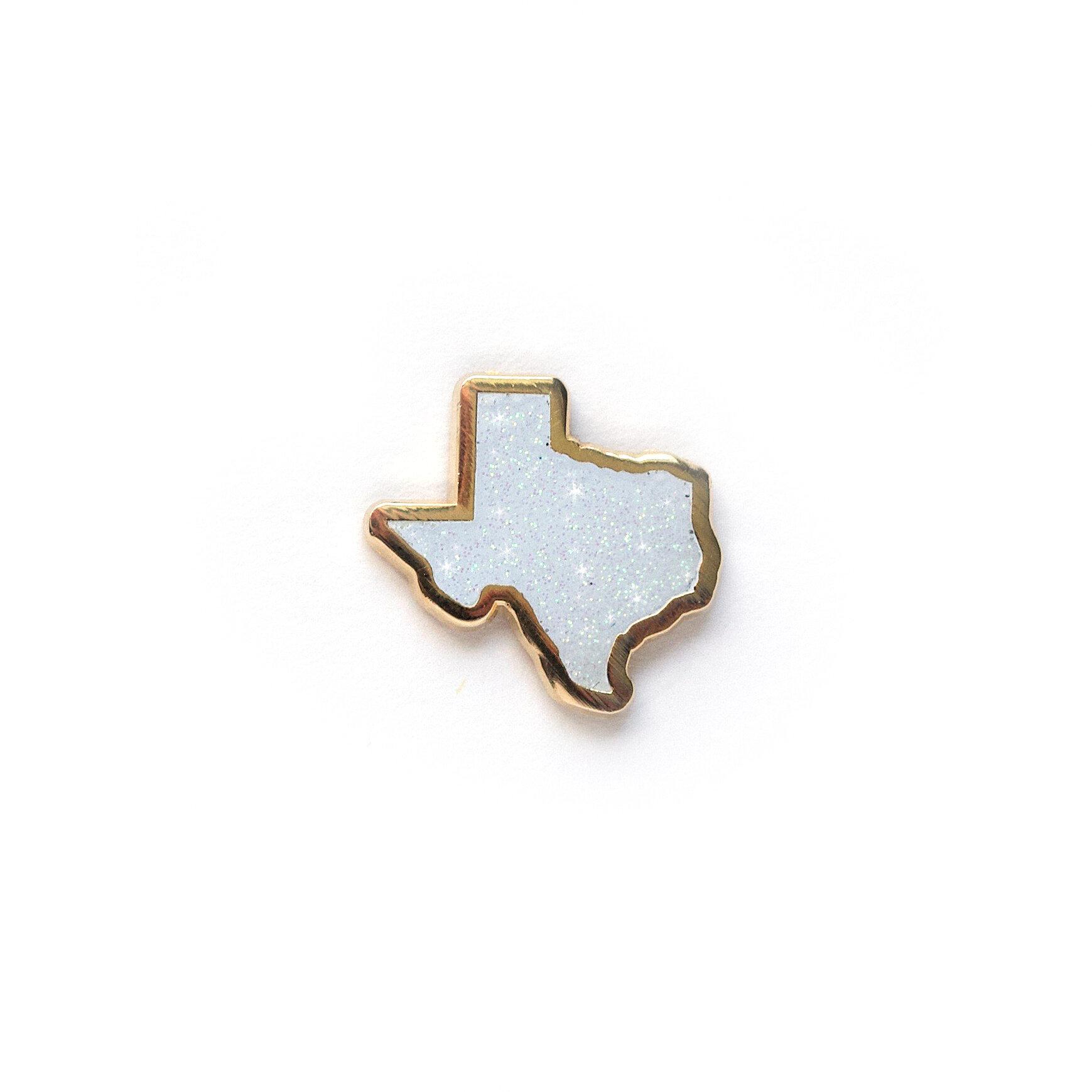 "P47 - Glitter Texas Pin - 1"""