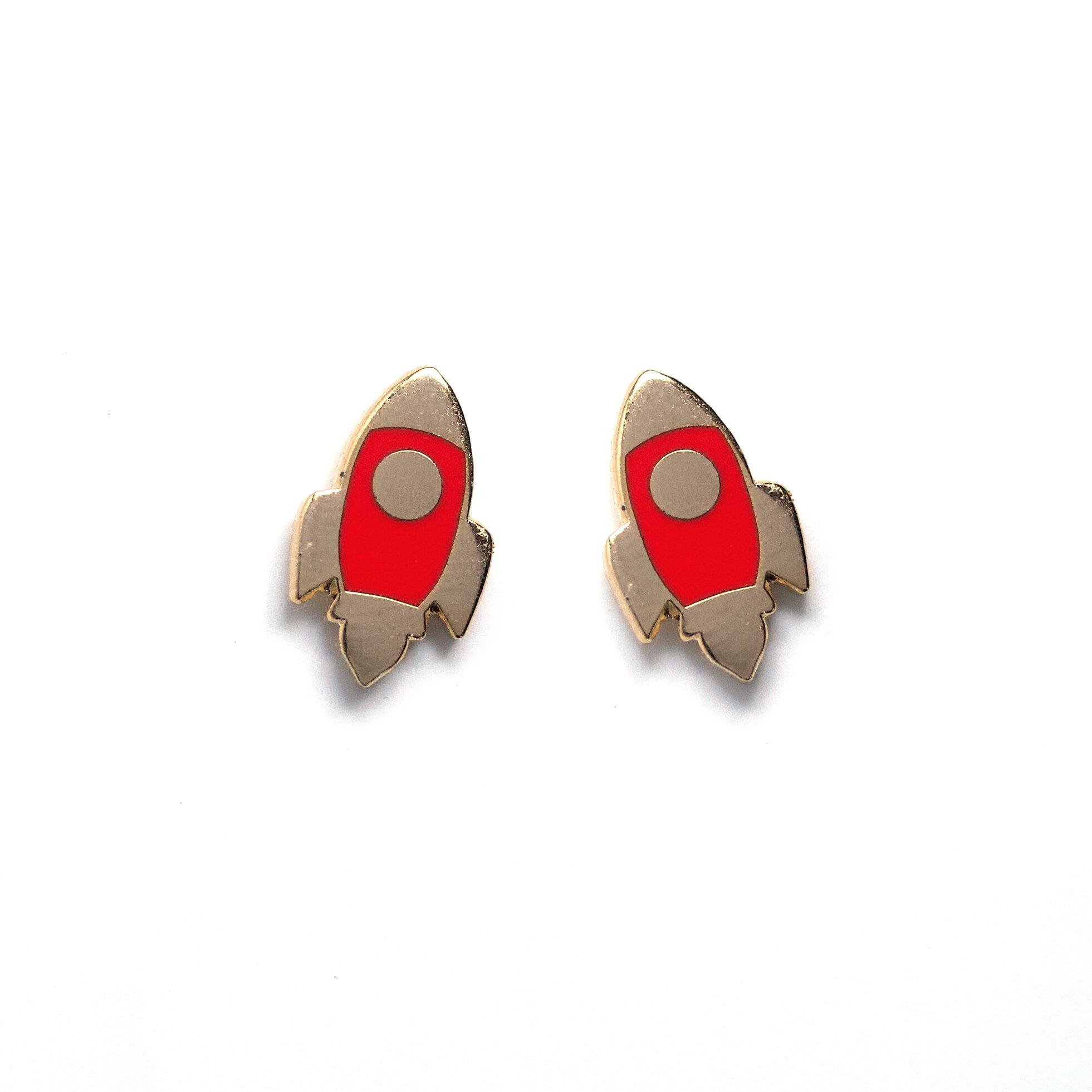 E1 - Red Rocket Earrings