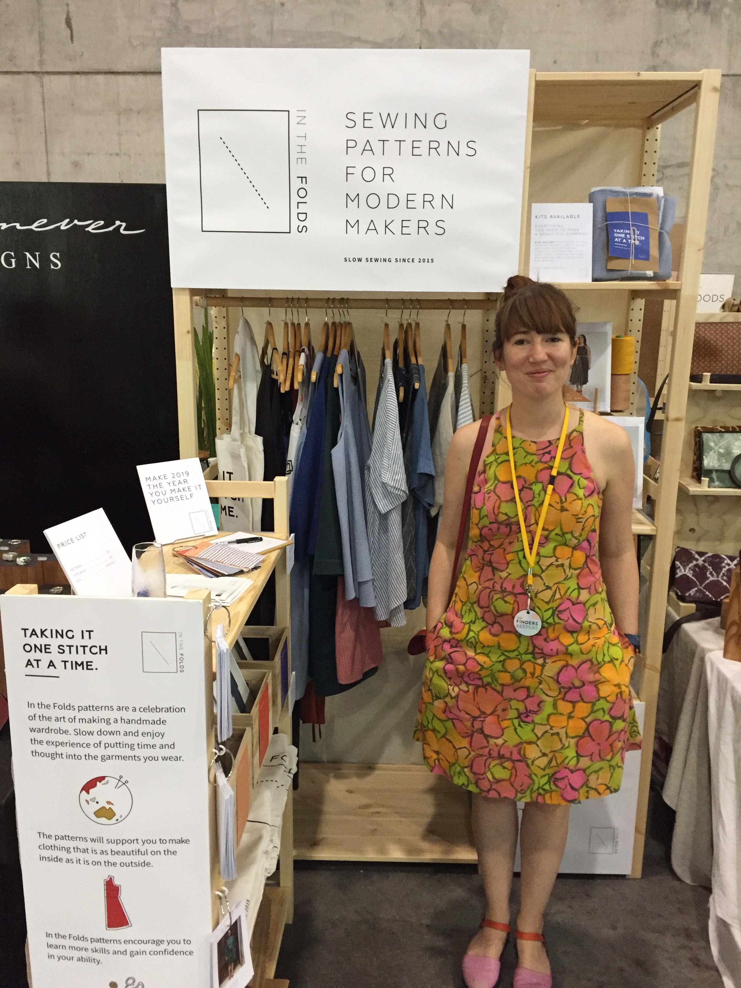 Me at Finders Keepers in Acton dress made from pre-loved vintage fabric.